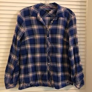Lightweight purple plaid shirt perfect for fall
